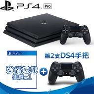 SONY PS4 Pro主機 7218 1TB-極致黑+原廠第二手把-黑+遊戲任選*1碧血狂殺2
