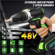 48V Cordless Drill Brushless Hammer Cordless Electric Drill Impact Drill Driver 2-Speed Tool