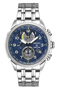 (Seiko Watches) Seiko Men s Prospex World Time Solar Silvertone Watch with Blue Dial-SSC507