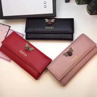 【高品質】GUCCI古馳錢包 gucci古奇小蜜蜂長夾 女皮夾 真皮錢包 手拿包 零錢包