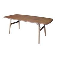 杰諾家居AronGino簡約工業風胡桃木實木餐桌180x90x68cmW180xD90XH