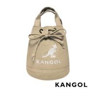 KANGOL 韓版玩色系列-帆布斜背水桶包-卡其AKG1214