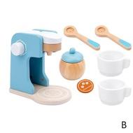 เด็กใหม่ไม้ทำเป็นชุดของเล่นจำลองเครื่องปิ้งขนมปังเครื่องทำขนมปังกาแฟเครื่องปั่นเบเกอรี่ชุดเกม Mixer ครัวของเล่นภาระกิจ
