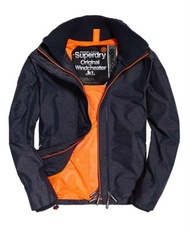 Superdry 極度乾燥 Technical Pop Zip SD-Windcheater 防風外套 M 男 (藍灰/橘)