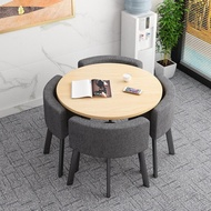 可收納省空間摺疊餐桌家用小戶型飯桌商店面洽談桌椅組合接待圓桌【七號小鋪】