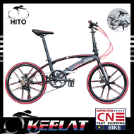 🌟 Hito X6🌟 20/22-inch Double Tube Folding Bicycle Ultra-light Magnesium Alloy Portable Disc Brake Adult Road Foldable Bike Factory Shipping