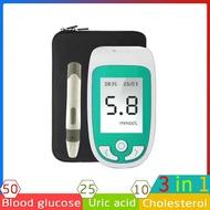 FillBuds 3 In1 Multifunction Cholesterol Analyzer Uric Acid Blood Glucose Meter Glucometer Kit 50pcs Blood sugar /10pcs Cholesterol /25pcs Uric Acid Test Strips
