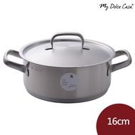 WMF Gourmet Plus 不鏽鋼矮身雙耳燉鍋 不鏽鋼鍋 湯鍋 含蓋 16cm 德國製[ADL12]