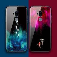 印象小鋪LGG7手機殼玻璃硅膠lg g7保護套全包邊軟鏡面防摔文藝鯉魚日韓和風簡約吉祥錦鯉原創意簡單小清新