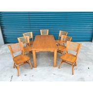 大慶二手家具 柚木色餐桌組(含七椅)/休閒桌/餐廳桌/戶外桌 /簡餐桌
