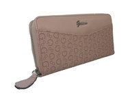 New Guess Logo Large Zip Around Wallet Purse Hand Bag Dusty Mauve Pink Gleeson