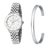 MASERATI 瑪莎拉蒂 SUCCESSO LADY 光動能經典手環套組腕錶32mm(R8853145507)