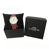 【COACH】圓框星星吊飾牛皮皮帶女用手錶(紅)