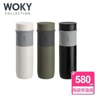 【WOKY 沃廚】JIN真瓷系列-極簡陶瓷保溫瓶580ML黑