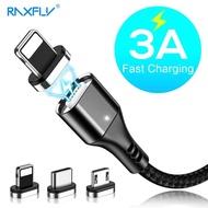 RAXFLY 3A Magnetic Fast สายชาร์จและถ่ายโอนข้อมูล Micro Type C Lightning แบนสายเคเบิ้ลหัวต่อแบบ USB สำหรับ Samsung Xiaomi Huawei iPhone ฯลฯสมาร์ทโฟน