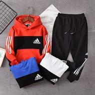 ۞ Adidas愛迪達2019冬季新款加絨連帽衛衣套裝 中大童運動套裝 男童女童套裝 撞色拼色套裝 純棉童裝870