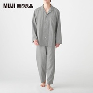 【MUJI 無印良品】男有機棉無側縫二重紗織家居睡衣(灰色)