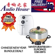 CNY BUNDLE DEAL!! MAYER MMAF68 (WHITE) 2.6L AIR FRYER + EUROPACE ESB-3391S 4L STEAMBOAT W GRILL
