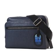 COACH 男款 漸層LOGO荔枝紋雙層置物拉鍊斜背相機包-海軍藍