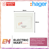 """hager MUSE WGML2D1NWH 20AX 1 gang large dolly switch with LED indicator marked """"WATER HEATER"""" (Suitable for BTO switch, HDB, condo, landed, new installations, Singapore standard size switch hole for easy installation) NOT STYLEA, NEW MODEL."""