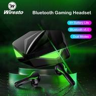 Wiresto Gaming Headset Bluetooth Earbuds Nirkabel Latensi Rendah Henset Bluetooth 5.0, Bass Dalam Luar Biasa, Mode Game / Musik, Mikrofon Bawaan, lampu Pernapasan Berkilau, Headset Bluetooth TWS EarBud Nirkabel Untuk PUBG MLBB