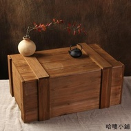 收納盒 木盒 擺飾 中式鄉村創意復古做舊裝飾大木箱道具裝書實木收納箱有蓋舊木箱子