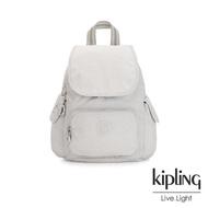 【KIPLING】探索亮銀灰拉鍊掀蓋後背包-CITY PACK MINI