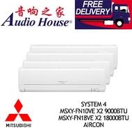 MITSUBISHI SYSTEM 4 MSXY-FN10VE X2 9000BTU+ MSXY-FN18VE X2 18000BTU AIRCON