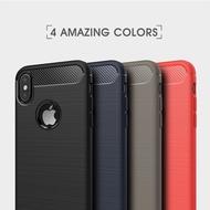 【現貨】拉絲碳纖維紋 蘋果 iPhone X 超薄防摔保護殼 TPU軟殼手機殼 全包邊矽膠散熱殼 簡約素殼 保護套