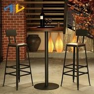 吧台椅 星巴克吧台椅實木歐式鐵藝酒吧椅吧凳現代簡約椅子 高腳凳 吧台椅【星時代女王】