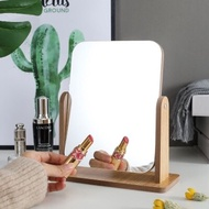 新品木質臺式化妝鏡子 高清單面梳妝鏡美容鏡 學生宿舍桌面鏡大號