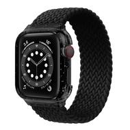 ผ้าถักSolo LoopสำหรับสายคาดApple Watch 44มม.40สายนาฬิกาเอ็มเอ็มกรณี + สายคล้องสร้อยข้อมือApple Watch Series 4 5 Se 6