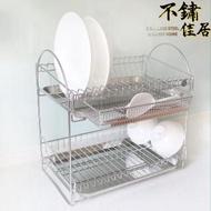 【不鏽佳居】304不鏽鋼雙層碗盤瀝水架附掛勾式筷子餐具瀝水架(304 碗盤 瀝水 瀝乾 瀝水架 置物架)