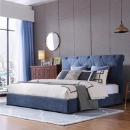 【FL 滿屋生活】FL Brizo 貝朵 -6尺藍菱格拉扣實木高背床架(實木床架/高背床架/拉扣床/雙人加大/6x6.2尺)