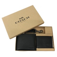 COACH 全牛皮男款8卡短夾附鑰匙圈活動證件夾禮盒(黑)