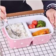 分隔陶瓷飯盒微波爐專用三分格便當盒帶蓋長方形保鮮盒密封碗大號