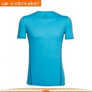 【Icebreaker 男 AERO圓領素色短袖上衣GT120《海洋藍》】103790/快乾機能服/透氣衫/運動