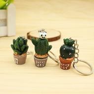 1PcsการจำลองสีเขียวกระถางพวงกุญแจซิลิโคนSucculent Cactus Key Chainคู่กระเป๋าจี้