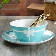 蝴蝶結正骨瓷甜品碗 tiffany藍早餐麥片碗水果沙拉碗糖水碗小面碗