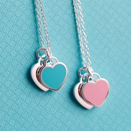Tiffany & Co 蒂芙尼項錬 經典雙心形 藍心粉心形琺瑯吊墜 S925純銀項鏈 節日禮物