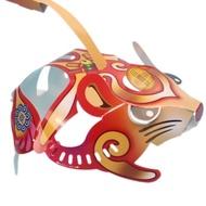 DIY摺紙 鼠年燈籠 (招財錢鼠-福氣錢鼠)/一個入(定55) 卡紙鼠年小提燈 紙折鼠燈籠 內附七彩LED燈 有附電池-ST安全玩具