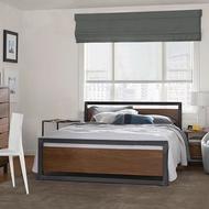 東昇のLOFT工業風實木飾板鐵床架/歐式復古木飾鐵管床架/法式古典鐵藝床架/5尺6尺雙人床/3尺半單人床