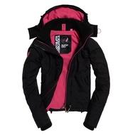 Superdry 極度乾燥 Arctic Pop SD-Windcheater 拉鍊連帽防風夾克 黑色/覆盆子色