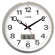 15吋 鍍銀LCD雙顯辦公時鐘 TG-0227