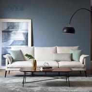 【hoi!】林氏木業輕奢現代可拆洗北歐三人布沙發附抱枕RAG1K-米白色
