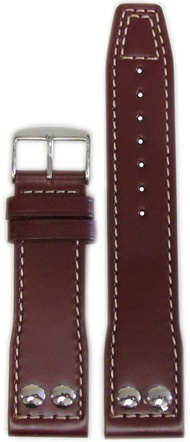 22mm Panatime Burgundy IWC Style Genuine Leather Pilots Style Watch Band with White Stitching 22/20 125/75