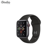 Apple Watch Series 5 GPS + Cellular, 44mm Space Grey Aluminium Case with Black Sport Band [iStudio by UFicon]