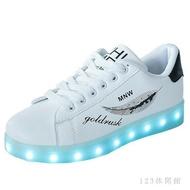 中大尺碼發光鞋 新款學生鬼步鞋男發光鞋LED發亮鞋USB充電熒光鞋夜光鞋LB10172《小蘿莉》