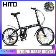 HITO🔥 Foldable Bicycle 20 Inch 6-speed Ultra-light Men's And Women's Folding Bike Thickened High Carbon Steel Frame Bicycle Send Gifts