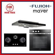 (HOB+HOOD+OVEN) Mayer MMGH888 Glass Hob + Fujioh Slimline Hood FR-MS1990R + Fujioh FV-EL-51-GL Built in Oven
